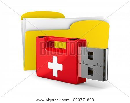 rescue usb flash drive and folder on white background. Isolated 3D illustration