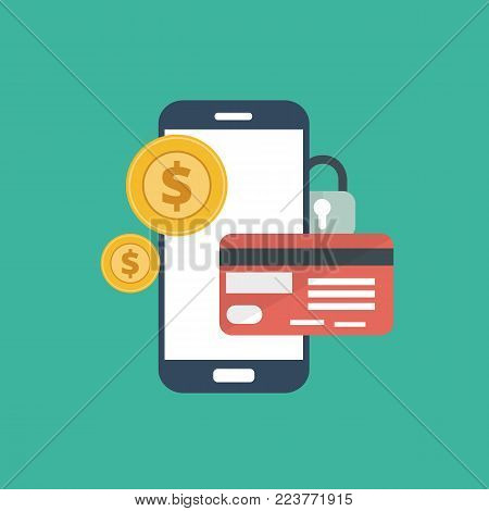 Smart phone digital security for credit card payments. Flat vector illustration
