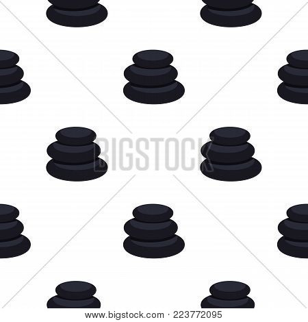 Stack of black basalt balancing stones pattern seamless background in flat style repeat vector illustration