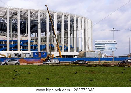 NIZHNY NOVGOROD. Russia-September 09, 2017. The new stadium. Construction of a new stadium for the 2018  World Cup.