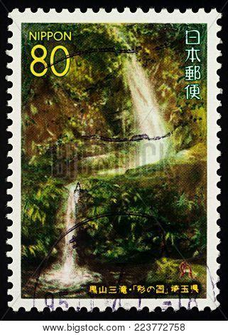 Moscow, Russia - January 26, 2018: A stamp printed in Japan shows Kuroyama Santaki Fall, series
