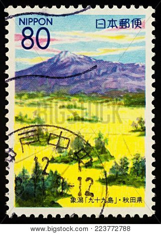 Moscow, Russia - January 26, 2018: A stamp printed in Japan shows Kujuku Islands in Kisakata, Akita Prefecture, series