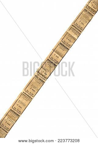 USSR - CIRCA 1983: line from vintage paper soviet traffic ticket stub (coupon, voucher) isolated on white background, circa 1983.