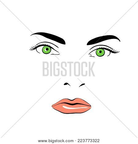 A woman's face. Green-eyed. Calm. Illustration. Eyes, nose, lips on a white background creating a woman's face.