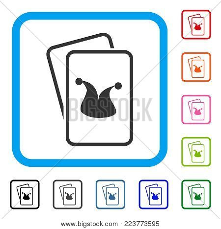 Joker Gaming Cards icon. Flat gray iconic symbol inside a blue rounded frame. Black, gray, green, blue, red, orange color versions of joker gaming cards vector. Designed for web and app interfaces.