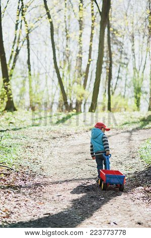 The Boy Is Driving A Red Wagon Along The Path In The Forest