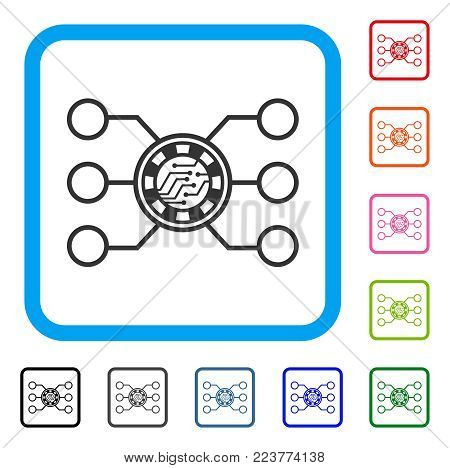 Casino Chip Circuit icon. Flat gray iconic symbol inside a blue rounded square. Black, gray, green, blue, red, orange color additional versions of casino chip circuit vector.