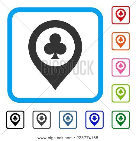 Casino Map Marker icon. Flat gray iconic symbol inside a blue rounded rectangular frame. Black, grey, green, blue, red, orange color additional versions of casino map marker vector.