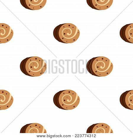 Sweet, creamy roll pattern seamless background in flat style repeat vector illustration