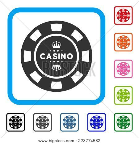 Royal Casino Chip icon. Flat grey pictogram symbol in a blue rounded squared frame. Black, grey, green, blue, red, orange color versions of royal casino chip vector. Designed for web and app UI.