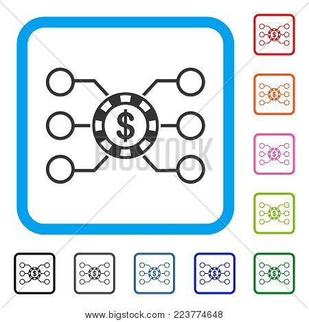 Casino Chip Circuit icon. Flat gray iconic symbol in a blue rounded square. Black, gray, green, blue, red, orange color additional versions of casino chip circuit vector.