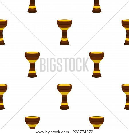 Darbuka, percussive musical instrument pattern seamless background in flat style repeat vector illustration