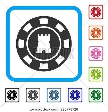 Bulwark Casino Chip icon. Flat gray pictogram symbol in a blue rounded rectangular frame. Black, grey, green, blue, red, pink color additional versions of bulwark casino chip vector.