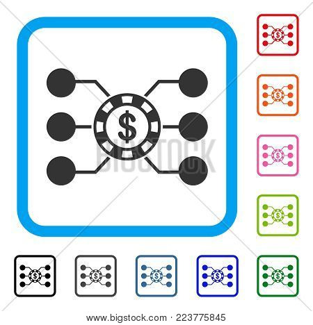 Casino Chip Circuit icon. Flat grey iconic symbol in a blue rounded square. Black, grey, green, blue, red, pink color additional versions of casino chip circuit vector.