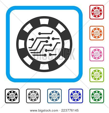 Circuit Casino Chip icon. Flat grey iconic symbol inside a blue rounded squared frame. Black, grey, green, blue, red, pink color versions of circuit casino chip vector.