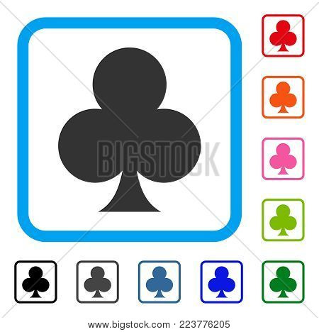 Clubs Suit icon. Flat grey pictogram symbol inside a blue rounded frame. Black, gray, green, blue, red, orange color versions of clubs suit vector. Designed for web and application interfaces.