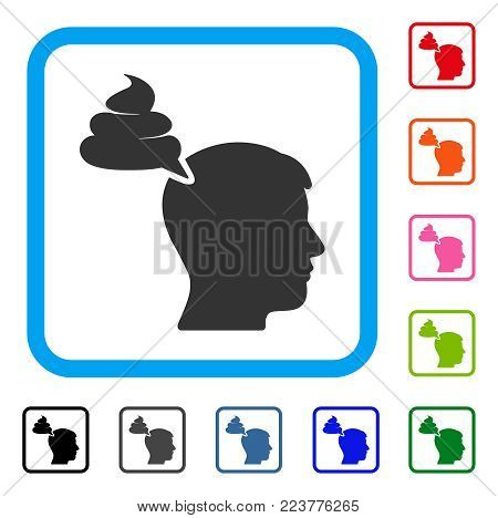 Crap Thinking Person icon. Flat gray pictogram symbol in a blue rounded frame. Black, gray, green, blue, red, orange color additional versions of crap thinking person vector.
