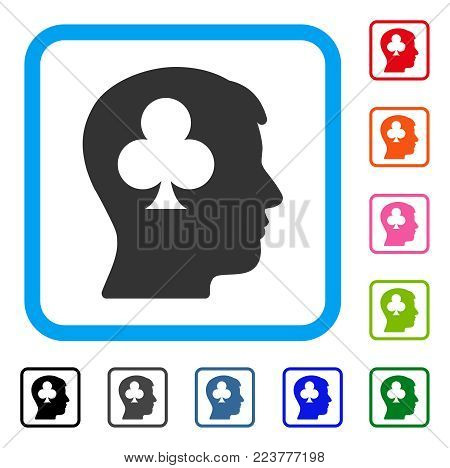 Gambling Addiction Patient icon. Flat grey pictogram symbol inside a blue rounded square. Black, grey, green, blue, red, orange color additional versions of gambling addiction patient vector.
