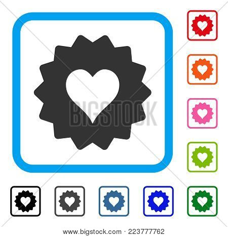 Hearts Token icon. Flat gray iconic symbol inside a blue rounded rectangle. Black, grey, green, blue, red, orange color variants of hearts token vector. Designed for web and application interfaces.