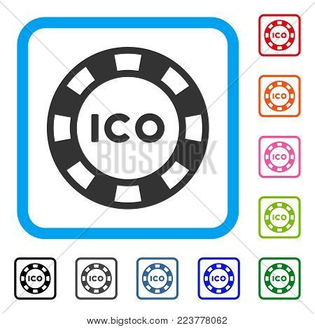 Ico Token icon. Flat grey pictogram symbol inside a blue rounded rectangle. Black, grey, green, blue, red, pink color additional versions of ico token vector. Designed for web and application UI.