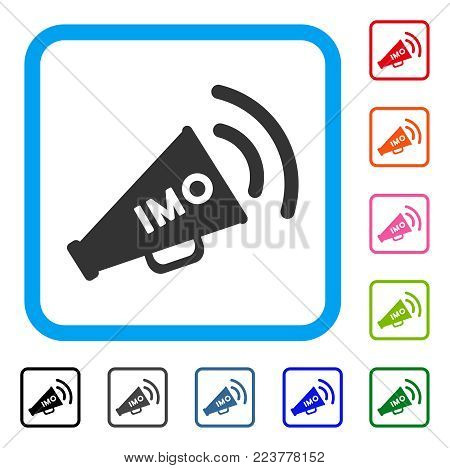 Imo Megaphone Alert icon. Flat grey pictogram symbol inside a blue rounded frame. Black, gray, green, blue, red, pink color variants of imo megaphone alert vector.