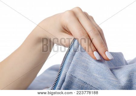 Blue white fabric clothes zipper shirt in hand on white background