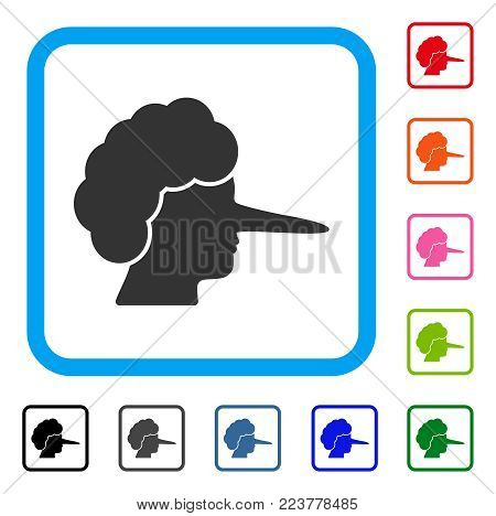 Lier icon. Flat gray pictogram symbol in a blue rounded frame. Black, gray, green, blue, red, pink color versions of lier vector. Designed for web and software user interface.