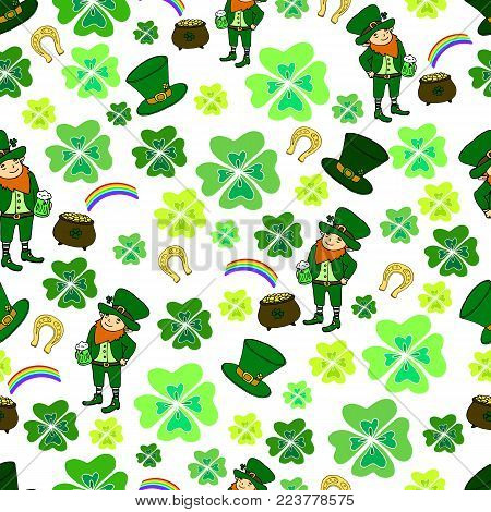 Seamless St. Patrick s Day. Green leprechaun, hat with clover, pot of gold and rainbow, clover, horseshoe, vintage decorative background. Hand drawn vector sign luck. Funny festive card for the holiday.