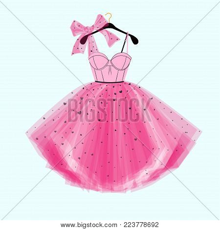 Pink party prom dress with bow. Fashion illustration for invitation card