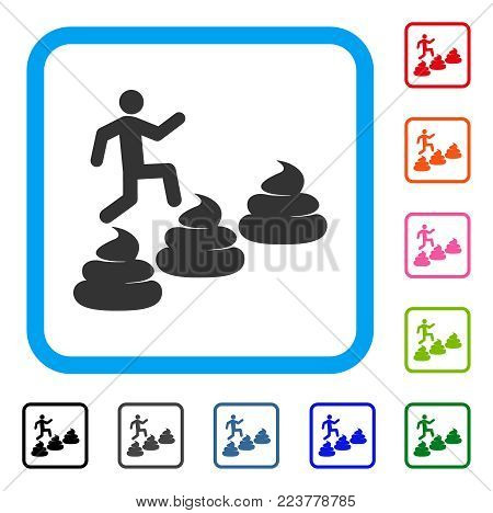 Person Climbing Shit Levels icon. Flat grey pictogram symbol in a blue rounded rectangle. Black, grey, green, blue, red, orange color variants of person climbing shit levels vector.