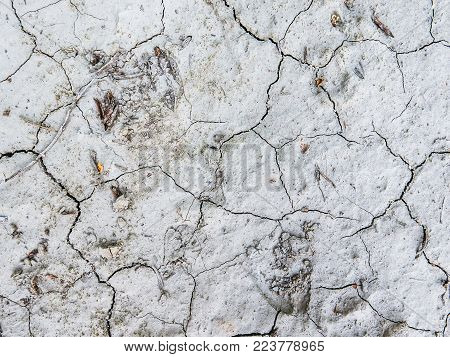 Abstract Close-Up Of Dry Cracked Ground In A Desert Area