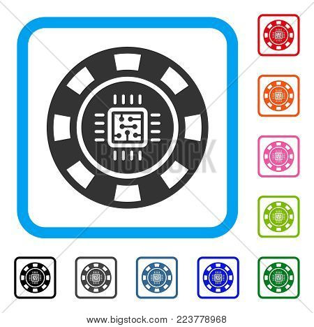 Processor Casino Chip icon. Flat gray iconic symbol in a blue rounded rectangular frame. Black, gray, green, blue, red, pink color additional versions of processor casino chip vector.