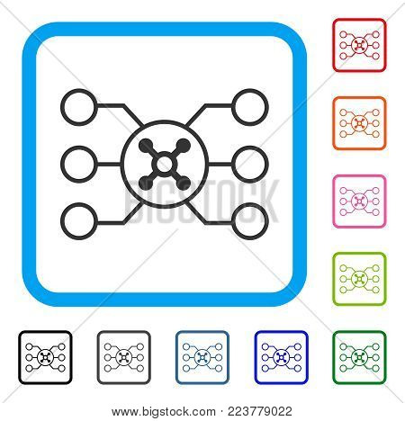 Roulette Circuit icon. Flat gray iconic symbol inside a blue rounded rectangular frame. Black, grey, green, blue, red, pink color additional versions of roulette circuit vector.