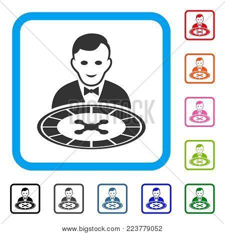 Roulette Dealer icon. Flat grey pictogram symbol inside a blue rounded rectangle. Black, grey, green, blue, red, orange color additional versions of roulette dealer vector.