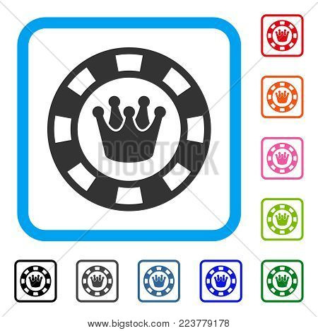 Royal Casino Chip icon. Flat grey iconic symbol inside a blue rounded squared frame. Black, grey, green, blue, red, pink color versions of royal casino chip vector.
