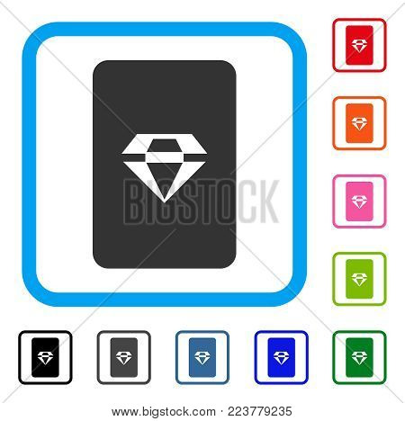 Ruby Gaming Card icon. Flat grey iconic symbol inside a blue rounded rectangle. Black, grey, green, blue, red, orange color versions of ruby gaming card vector. Designed for web and app interfaces.