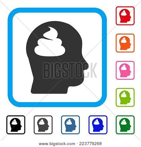Shit Brain icon. Flat grey pictogram symbol inside a blue rounded frame. Black, grey, green, blue, red, orange color additional versions of shit brain vector. Designed for web and app UI.