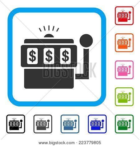 Slot Machine icon. Flat gray iconic symbol inside a blue rounded square. Black, grey, green, blue, red, pink color versions of slot machine vector. Designed for web and application UI.