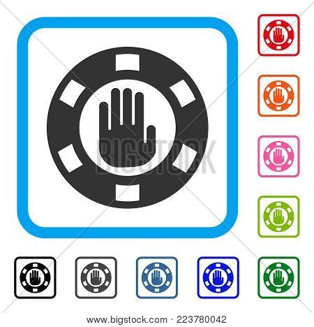 Stop Gambling Chip icon. Flat gray pictogram symbol in a blue rounded frame. Black, gray, green, blue, red, orange color additional versions of stop gambling chip vector.