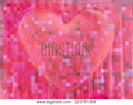 One pixelated heart on a pink pixel background which can be used as a background for a romantic holiday link Valentines Day.