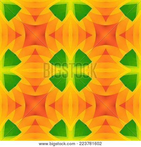 Vivid green orange abstract texture. Seamless tile. Home decor fabric design sample. Detailed background illustration. Tileable motif for pillows, cushions, tablecloths, drapes. Textile print pattern.