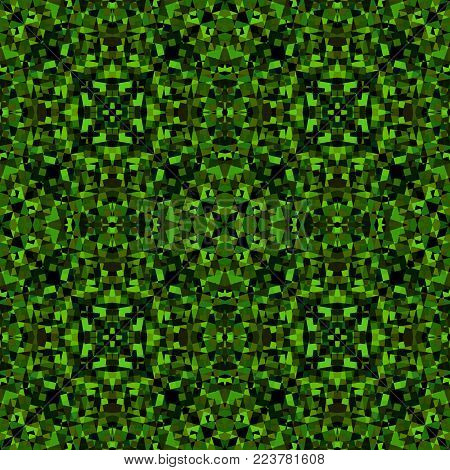 Green black abstract texture. Detailed caleidoscope effect background illustration. Textile print pattern. Geometric seamless tile. Home decor fabric design sample. Tileable motif for pillows, covers
