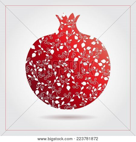 Decorative ornamental pomegranate made of swirl doodles for Rosh Hashanah greeting card, Jewish New Year. Rosh hashana, sukkot Jewish Holiday. Vector illustration of fruit logo