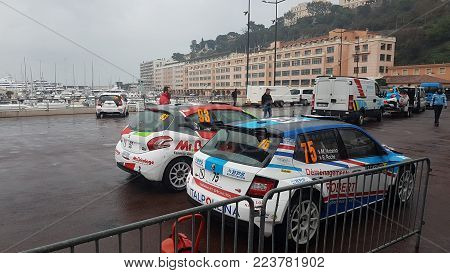 Monte-Carlo, Monaco, January 24, 2018: Skoda Fabia R5 And Peugeot 208 Rally Cars (Rear View) Parked on the Port Hercule of Monaco. Rallye Monte-Carlo 2018, French Riviera