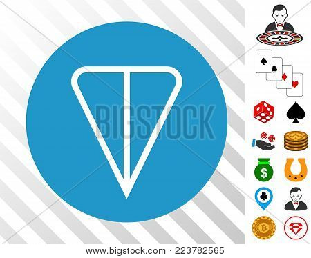 Ton Currency icon with bonus gambling images. Vector illustration style is flat iconic symbols. Designed for gamble gui.