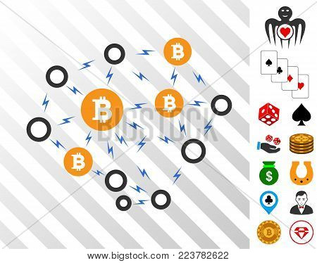 Bitcoin Lightning Network pictograph with bonus casino symbols. Vector illustration style is flat iconic symbols. Designed for gamble ui.