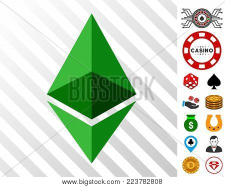 Ethereum Crystal pictograph with bonus gambling pictures. Vector illustration style is flat iconic symbols. Designed for gambling apps.