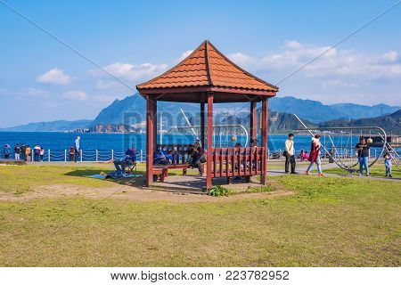 KEELUNG, TAIWAN - APRIL 04: This is Badouzi seaside park where people come with to enjoy the seaside area on a sunny day on April 04, 2017 in Keelung