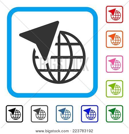 Global Freelance icon. Flat grey pictogram symbol inside a blue rounded rectangle. Black, gray, green, blue, red, orange color additional versions of global freelance vector.