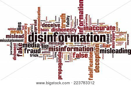 Disinformation Word Cloud Concept. Vector Illustration On White